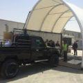 BM Oppustelig pavillon koblet til container med testbane