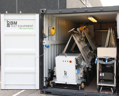Container with test equipment