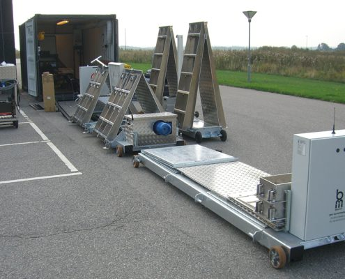 Unloading test equipment from container