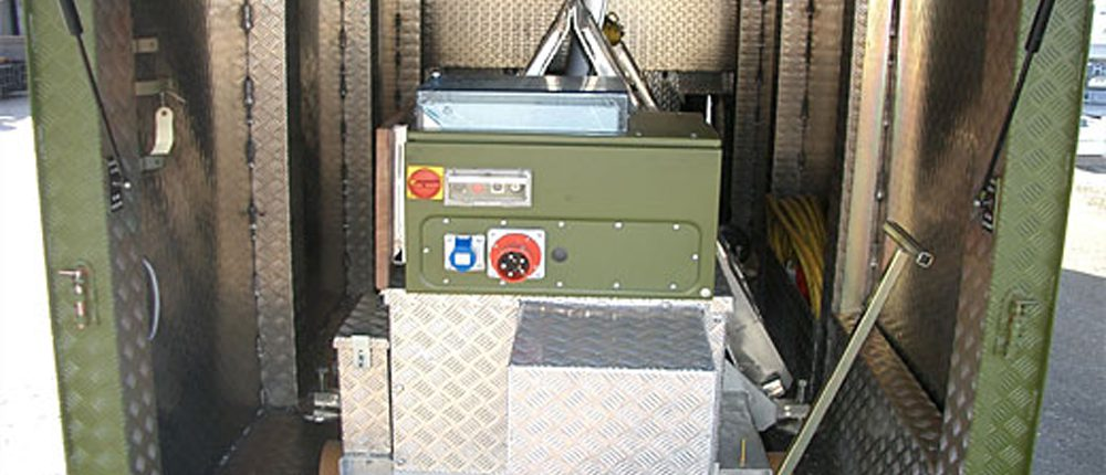 BM20200 mobile roller brake tester inside flatrack container