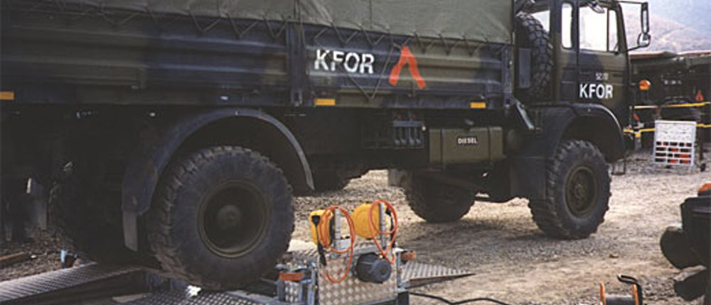 BM20200 mobile roller brake tester with military vehicle
