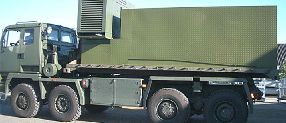 Flatrack på lastbil