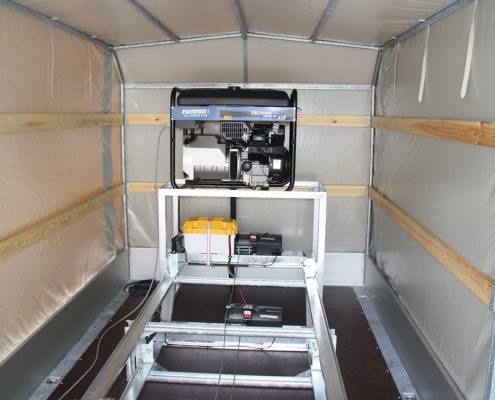 The equipment is connected to - and powered from - the onboard generator located inside the trailer
