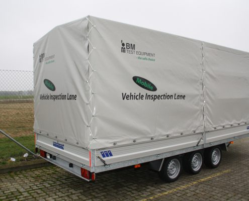BM trailer with mobile vehicle inspection lane