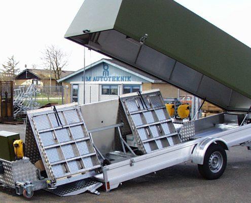 Unloading BM20200 mobile roller brake tester from trailer