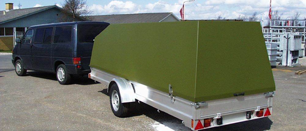 Trailer with test equipment for armed forces