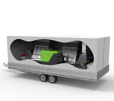 Mobile vehicle inspection lane in trailer - 3D illustration