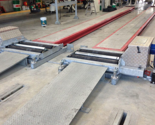 BM20200 roller brake tester split bed installation