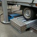 BM3010 roller brake tester with galvanized rollers and pneumatic load simulation system