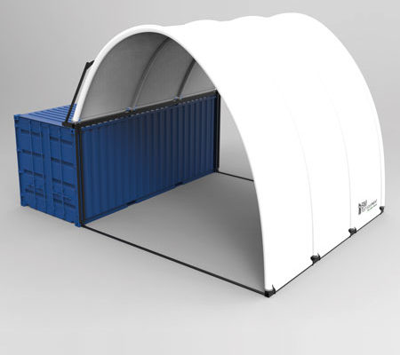 Inflatable pavilion on container - 3D illustration