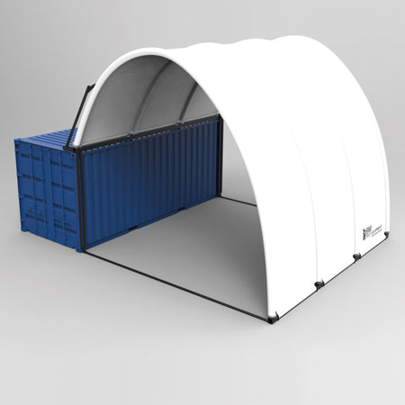 Oppustelig pavillon på container - 3D illustration