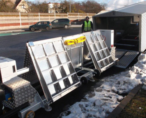 BM20200 mobile roller brake tester in hard top trailer