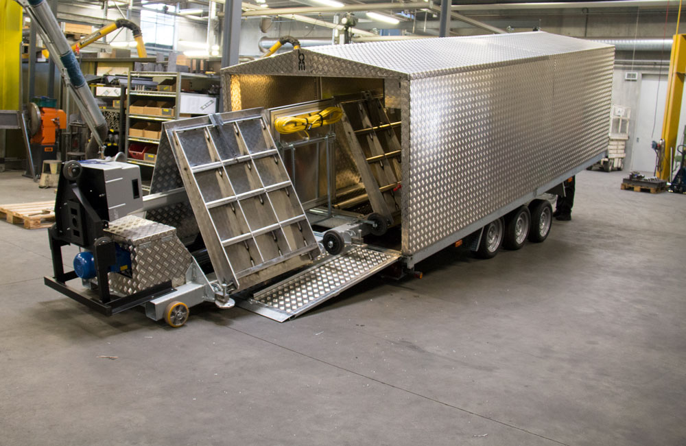 Hard top trailer with mobile roller brake tester