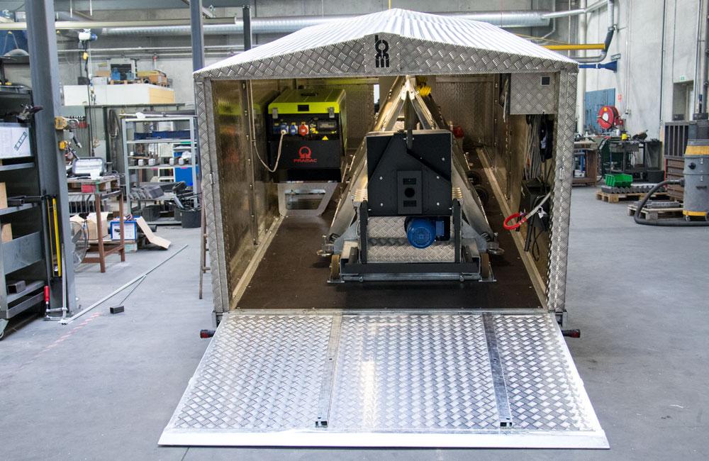 BM20200 roller brake tester inside hard top trailer