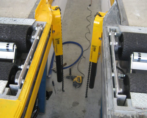 BM CLS type A with BM14200 roller brake tester in workshop