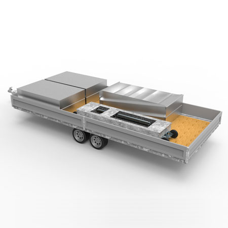 Mobil trailerløsning til MC bremseprøvestand - 3D illustration