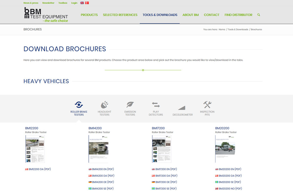Collection of BM brochures on bmtest.dk
