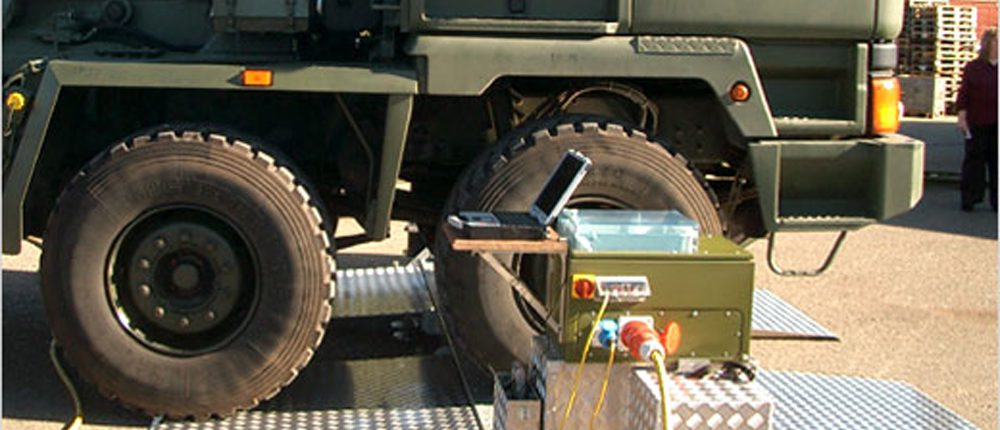 BM20200 mobile roller brake tester with military vehicle and BM FlexCheck software
