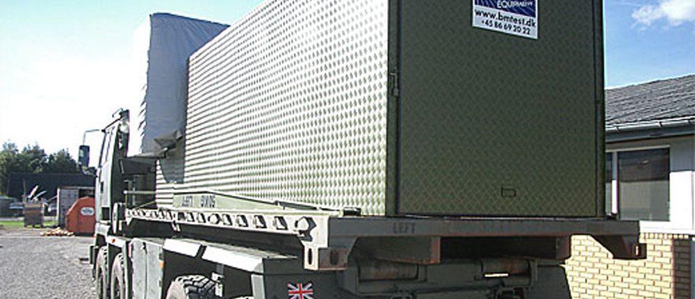 Flatrack with vehicle test equipment