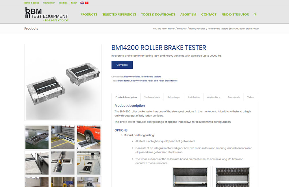 Product page on bmtest.dk